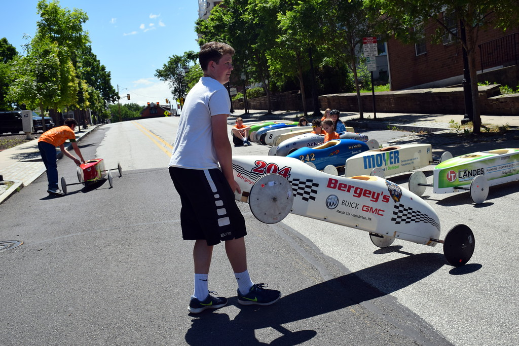 . The 2017 Indian Valley Soap Box Derby takes over Main Street in Souderton Saturday, June 3.  Debby High � For Digital First Media