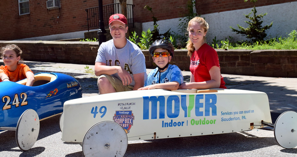. Luke, Benjamin and Ashley Slack attend the Indian Valley Soap Box Derby in Souderton Saturday, June 3. Benjamin won in the stock division.  Debby High � For Digital First Media