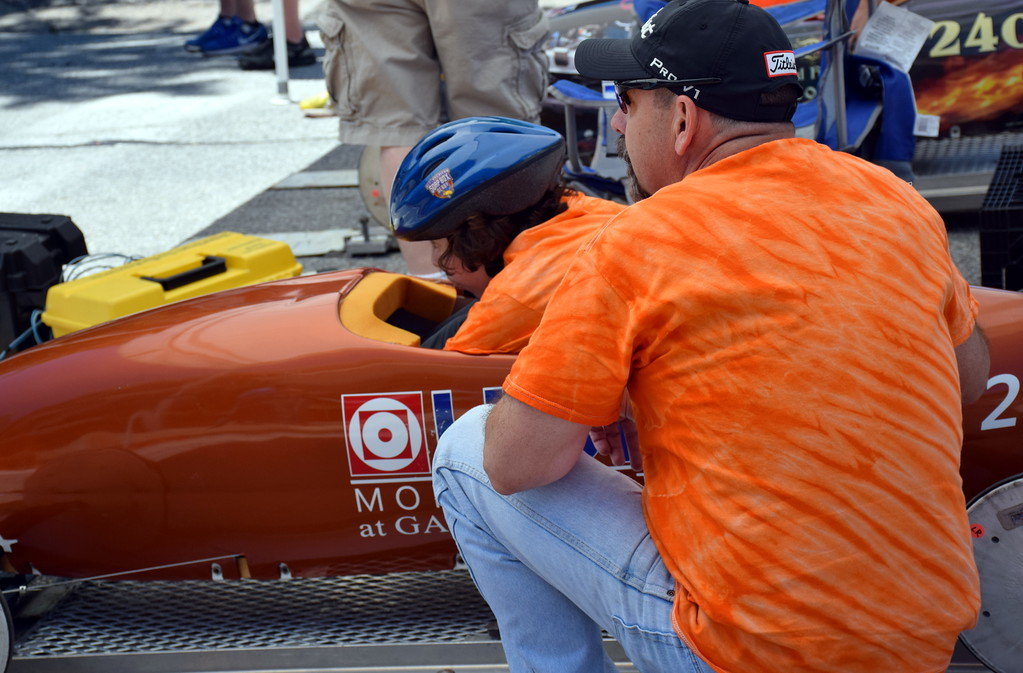 . A driver prepares to compete in the Indian Valley Soap Box Derby in Souderton Saturday, June 3.  Debby High � For Digital First Media
