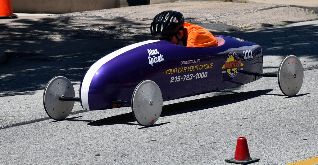 . Alex Spisak races in the Indian Valley Soap Box Derby in Souderton Saturday, June 3.  Debby High � For Digital First Media