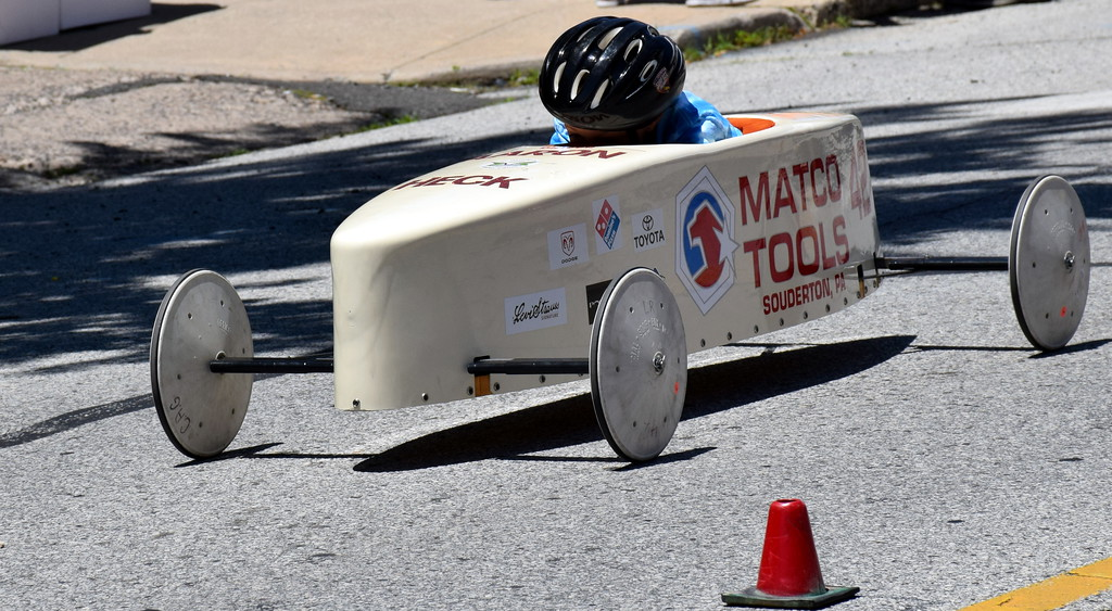 . Aaron Heck races in the Indian Valley Soap Box Derby in Souderton Saturday, June 3.  Debby High � For Digital First Media