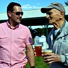 Dublin Mayor Chris Hayes speaks with longtime Dublin resident William Basso during the 18th annual Dublin Day Saturday, June 3.  Debby High — For Digital First Media