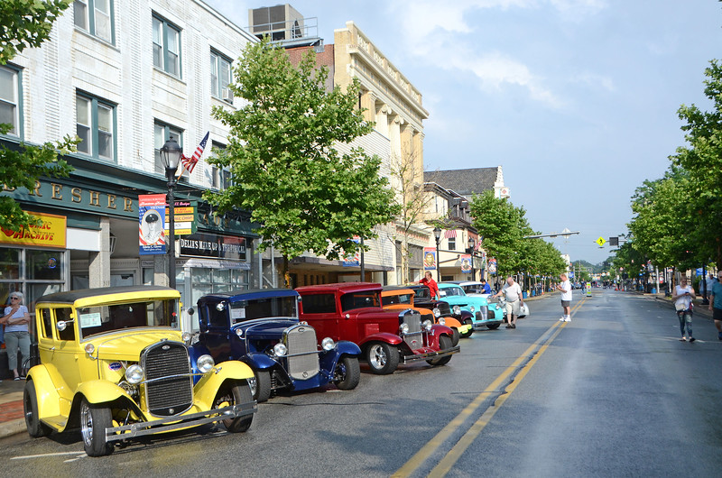 Vintage cars line Main Street during Lansdale's Under the Lights Car Show Saturday, June 16.  Christine Wolkin - For Digital First Media