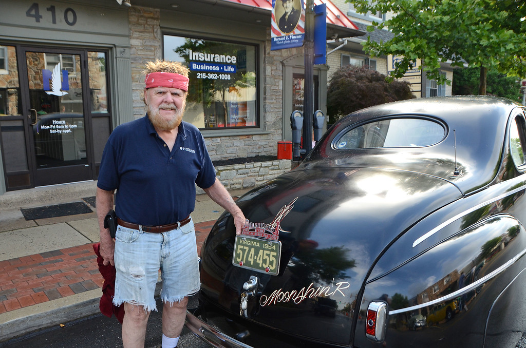 . Don Stalker, of Quakertown, stands with his Monnshine Runner during Lansdale\'s Under the Lights Car Show Saturday, June 16.  Christine Wolkin - For Digital First Media