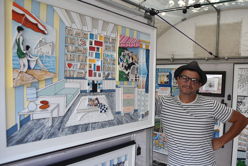 Geraldo Leccese showcases some of his three-dimensional art pieces at the Manayunk Arts Festival.  Rick Cawley — For Digital First Media