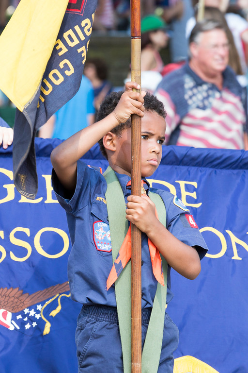 . A member of Cub Scout Pack 304 marches in the parade.  Rachel Wisniewski � For Digital First Media