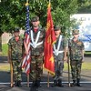 Lance Cpl. Miller, left, Cpl. Teti and Lance Cpl. Salters of the United Young Marines conduct the flag ceremony opening Horsham's National Night Out Aug. 1 outside the Horsham Municipal Complex.  Christine Wolkin — For Digital First Media
