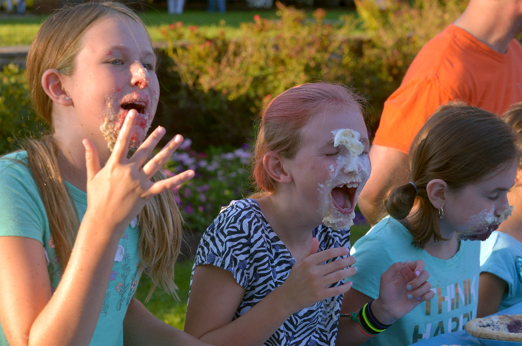 . Three girls getting messy at the Souderton Community Night pie eating contest Aug. 8, 2017.  //  Bob Raines--Digital First Media
