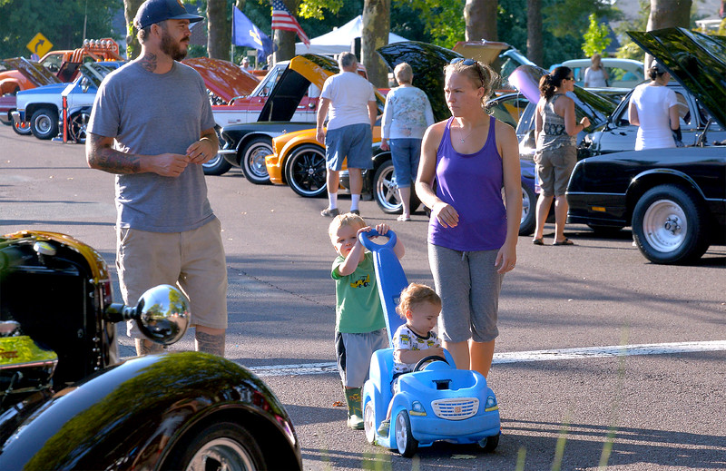 Bryan, Luke, Nate, and Courtnee Wampole explore the car show at Souderton Community Day Aug. 8, 2017.  //  Bob Raines--Digital First Media