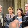 The Chamber of Commerce for Greater Montgomery County awards QNB Bank the Business of the Year Award (over 100 employees) during its annual dinner and awards celebration at PineCrest Country Club Wednesday, Oct. 28. Left to right are Don Franks, J.L. Freed Honda president; Pam Kelly, chamber president; April Donohue, QNB Bank; and Dan Reavy, chairman of the board.  Christine Wolkin — For Digital First Media