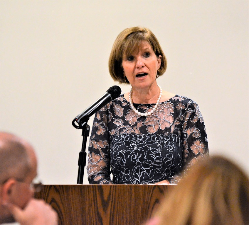 . Chamber of Commerce for Greater Montgomery County President and CEO Pamela A. Kelly welcomes members during the chamber�s annual dinner and awards celebration at PineCrest Country Club Wednesday, Oct. 28.  Christine Wolkin � For Digital First Media