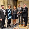 The Chamber of Commerce for Greater Montgomery County awards Justin Weathers of Stove & Tap with the Young Entrepreneur of the Year Award during its annual dinner and awards celebration at PineCrest Country Club Wednesday, Oct. 28. Left to right are Marat Mamedov and Zsuzsa Palota, Boardroom Spirits LLC; Pam Kelly, chamber president; Weathers; and Dan Reavy, board chairman.  Christine Wolkin — For Digital First Media
