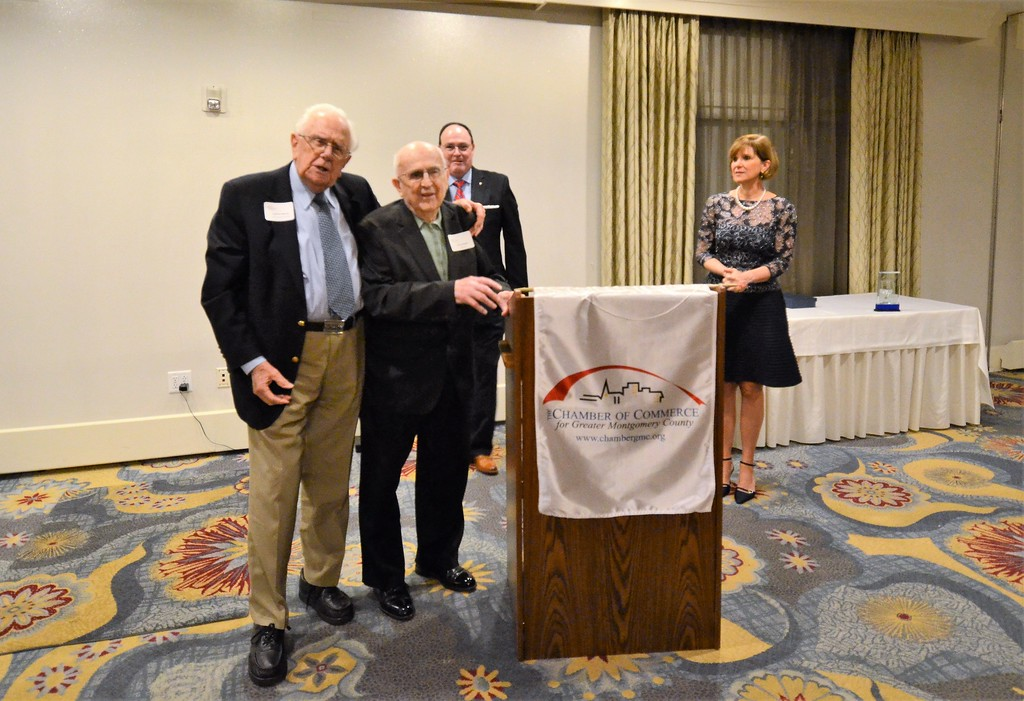 . Sanford A. Alderfer, left, presents Henry Bergey, Bergey�s Inc., with the Sanford A. Alderfer Lifetime Achievement Award during the Chamber of Commerce for Greater Montgomery County annual dinner and awards celebration at PineCrest Country Club Wednesday, Oct. 28, 2017.  Christine Wolkin � For Digital First Media