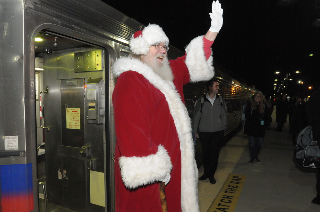 . Santa arrives by train in Ambler December 6, 2018. Gene Walsh � Digital First Media