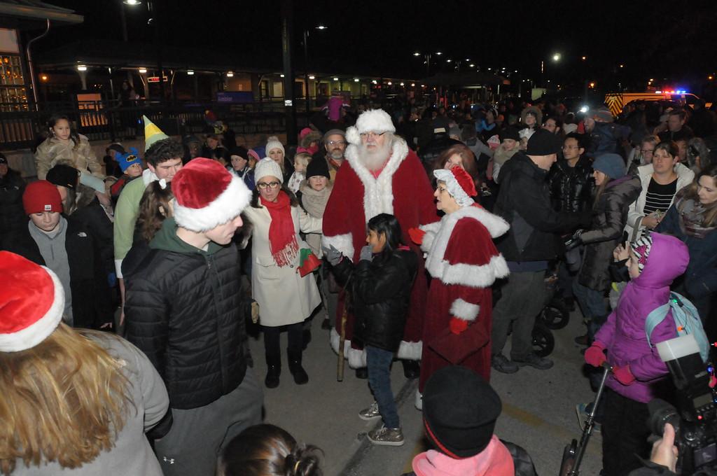 . Santa arrives by train in Ambler December 6, 2018. Gene Walsh � Digital First Media