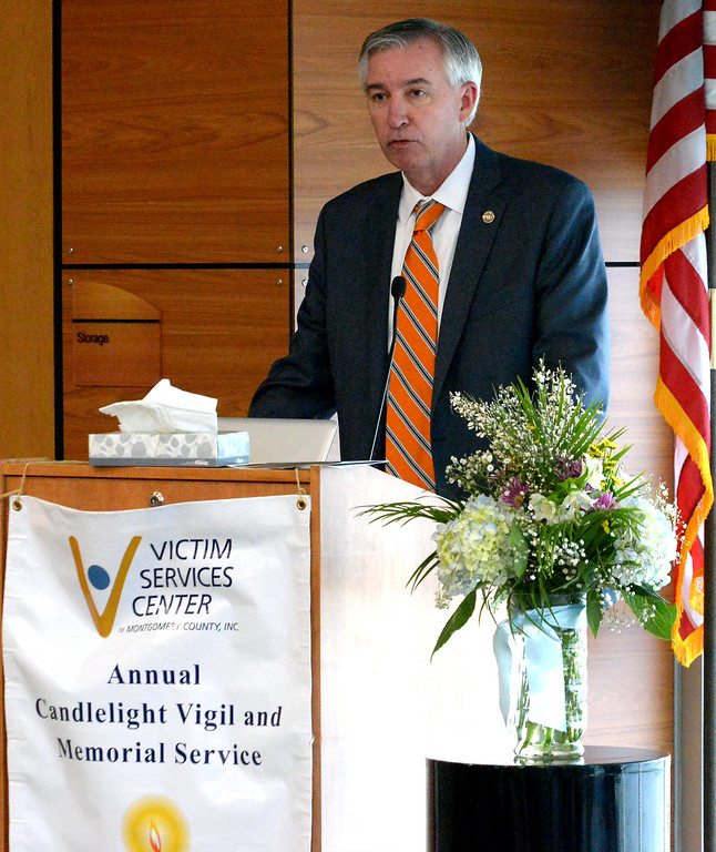 . Montgomery County District Attorney Kevin Steele speaks to victims\' families and friends at the Victim Services Center Annual Candlelight Vigil April 11, 2017.  (Bob Raines--Digital First Media)