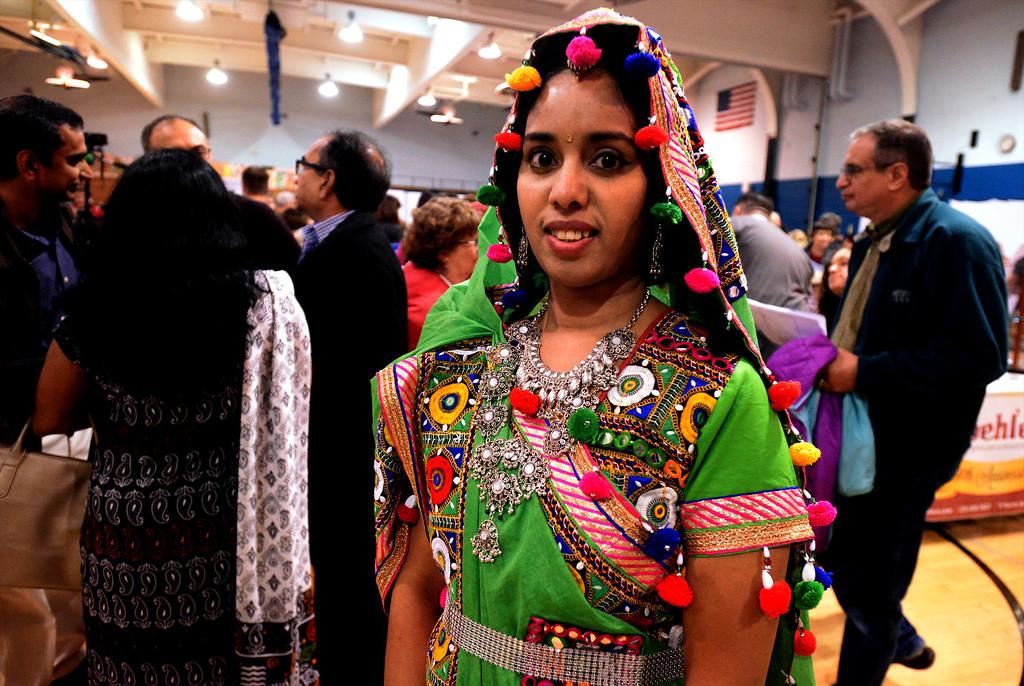 . Vidya Rajan models a traditional Gujarat regional costume from India  April 22, 2017.  (Bob Raines/Digital First Media)