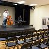 Jazplash, a jazz trio featuring (from left) Ed Neiderhiser, Tim Wolfe, and Jarred Alston, plays a set at the exhibition. (Rachel Wisniewski/For Digital First Media)