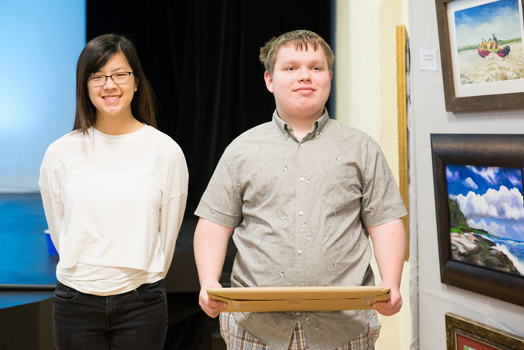 . Nicole Hwang (left) and Trevor Hohman pose with their G3: grades 9-12 awards. (Rachel Wisniewski/For Digital First Media)
