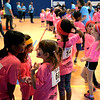 Girls chatter together between events at the Montgomery Elementary MiniTHON Feb. 4, 2017.  (Bob Raines--Digital First Media)