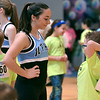 A young lad looks bit nervous speaking with one of the members of the North Penn High School Dance Team at the Montgomery Elementary MiniTHON Feb. 4, 2017.  (Bob Raines--Digital First Media)