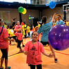 Kids and counselors try to keep balloons in the air at the Montgomery Elementary MiniTHON Feb. 4, 2017.  (Bob Raines--Digital First Media)