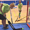 The boy in the goal cage seems a bit over-supplied with shooters at the Montgomery Elementary MiniTHON Feb. 4, 2017.  (Bob Raines--Digital First Media)