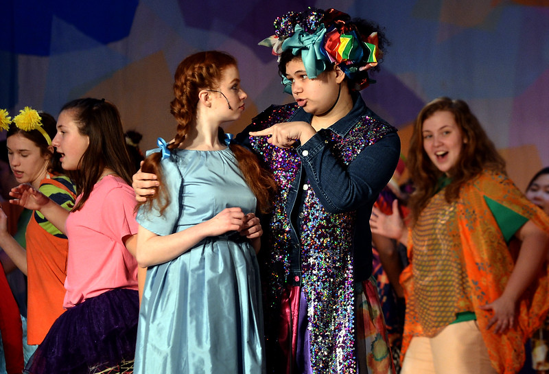 "Addaperle (Brenna Roessler), the Good Witch of the North, tells Dorothy (Mariel Pello) not to feel bad about crushing Evamean with her house because she has freed the Munchins. They are rehearsing for the Springfield Township High School production of ""The Wiz"" March 7, 2017.  (Bob Raines / Digital First Media)"
