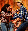 """Willard (Christian Tuffy) surprises Rusty (Liz Jones) after his friends finally teach him to dance when they all sneak off to a dancehall in another town in """"Let's Hear It for the Boy.""""  (Bob Raines / Digital First Media)"""