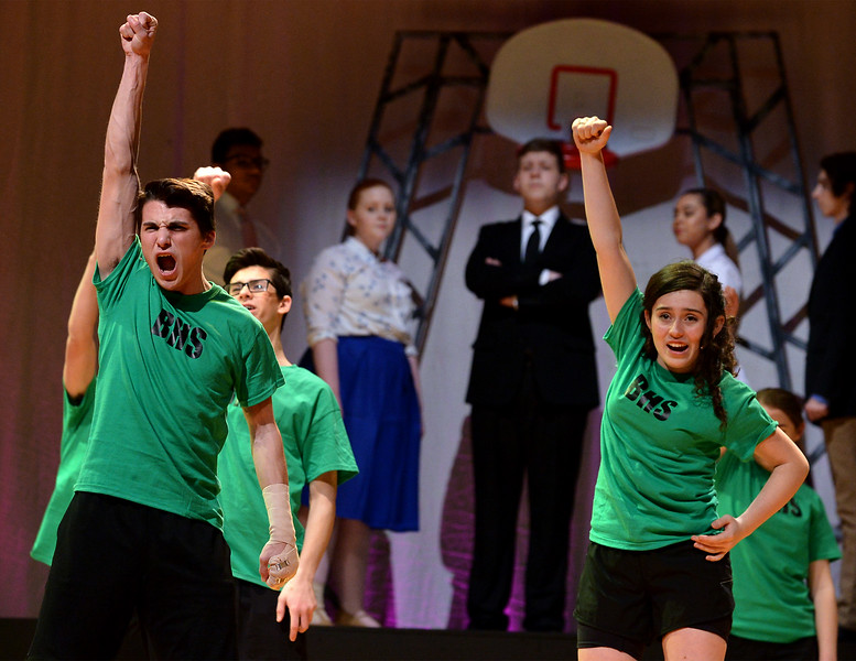"""Ren McCormack (Scotty Murphy) convinces the other students at Bomont High, including Rusty (Liz Jones) to stand up against the town council ban on dancing. They are rehearsing for the Upper Moreland High School production, """"Footloose,"""" March 22, 2017.  (Bob Raines / Digital First Media)"""