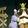 "Pennridge High School students Jeremy Noel (Donkey) and Joseph Zook (Shrek) prepare for the opening weekend of ""Shrek the Musical.""  Christine Wolkin — For Digital First Media"