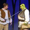 "Pennridge High School students Dan Walker (Captain of the Guard) and Joseph Zook (Shrek) run through their dress rehearsal in preparation for the opening weekend of ""Shrek the Musical.""  Christine Wolkin — For Digital First Media"