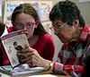 "Alyssa Conrow, left, and Joan Taplinger study ""The Tale of Beatrix Potter"" together at Center School, Abington April 4, 2017.  (Bob Raines / Digital First Media)"