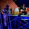 """Mark (Sam Caplan), a filmmaker, leaves the apartment to look for Collins who is overdue while Roger (Charlie Griffin) works on his song. They are rehearsing the Upper Dublin High School production of """"RENT"""" April 4, 2017.  (Bob Raines / Digital First Media)"""
