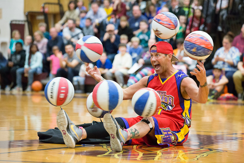 """""""Blackjack"""" shows off his ability to balance seven spinning basketballs at the same time.  Rachel Wisniewski — For Digital First Media"""