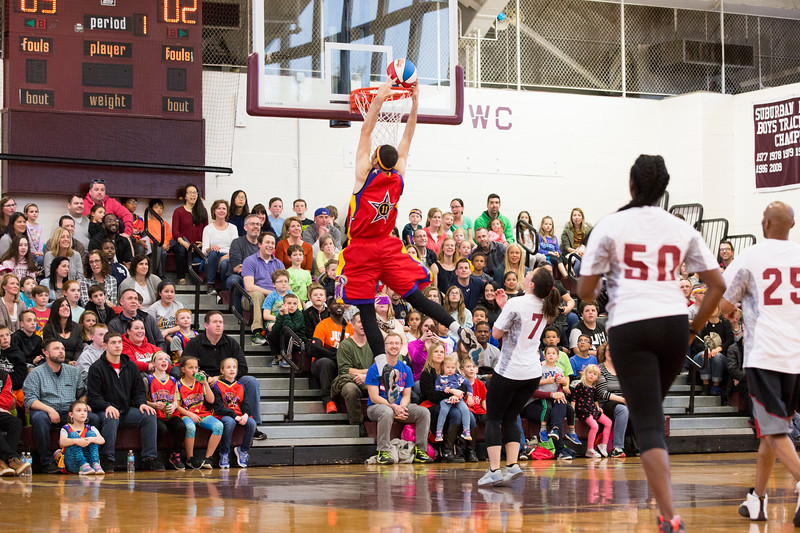 """""""Super Bounce"""" scores a slam dunk for the Wizards in the first period while Abington teachers look on in awe.  Rachel Wisniewski — For Digital First Media"""
