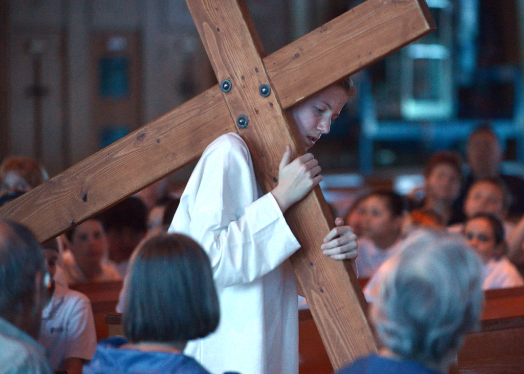 . Jesus drags his cross through Jerusalem during the re-enactment of the passion and death of Jesus at St. Stanislaus Catholic Church April 12, 2017.  (Bob Raines / Digital First Media)
