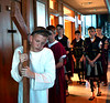 Jesus drags his cross through Jerusalem during the re-enactment of the passion and death of Jesus at St. Stanislaus Catholic Church April 12, 2017.  (Bob Raines / Digital First Media)
