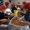 Pennridge North Middle School students assembly meals for Pennridge FISH April 18, 2017.  (Bob Raines / Digital First Media)