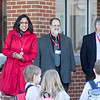 Hatboro-Horsham School District Assistant Superintendent Monica J. Taylor, left, speaks to Hallowell Elementary School students about how excited she is to see the new school. Beside her stand members of the school board.  Rachel Wisniewski — For Digital First Media
