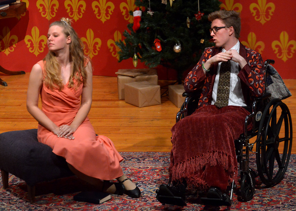 . Sheridan Whiteside (Isaac Longacre), a critic and radio personality, makes light of actress Lorraine Sheldon\'s (Hannah Landis) attraction to Lord Bottomly.  (Bob Raines/Digital First Media)