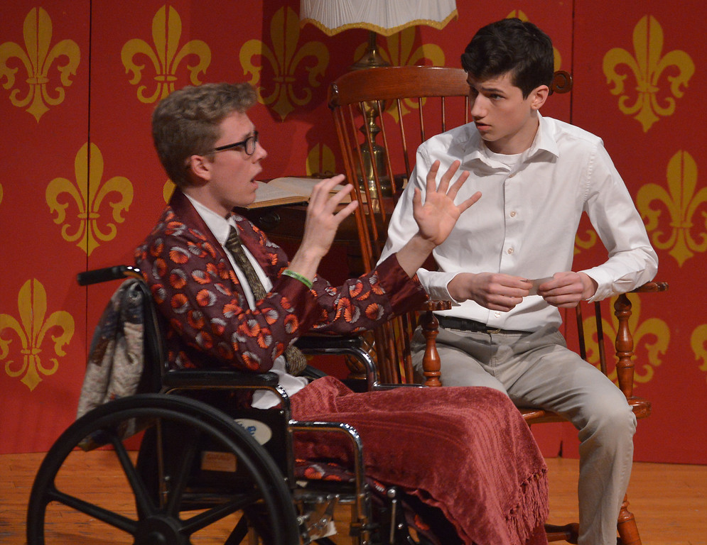 . Sheridan Whiteside (Isaac Longacre), advises his host\'s son, Richard Stanley (Andrew Winner), that with his talent for photography, the young man should get away from the small town of Mesalia.  (Bob Raines/Digital First Media)