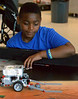 "Crooked Billet fifth-grader Amir Crews watches his robot collect ""rocks"" as he works to fine-tune its programming to perform its task correctly during the Hatboro-Horsham School District Robotics Expo at Hallowell Elementary School May 2, 2017.  (Bob Raines/Digital First Media)"