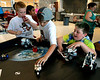 Crooked Billet students JT Thompson, Ben Koebert and Timmy James, Jr., run tests on their robots meant to launch a rocket across the table during the Hatboro-Horsham School District Robotics Expo at Hallowell Elementary School May 2, 2017.  (Bob Raines/Digital First Media)