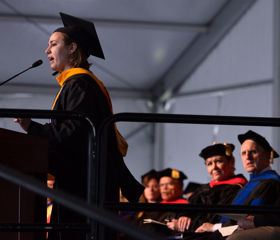 . Julia Tasca delivers the student address during the Gwynedd Mercy University commencement May 13, 2017.  (Bob Raines/Digital First Media)