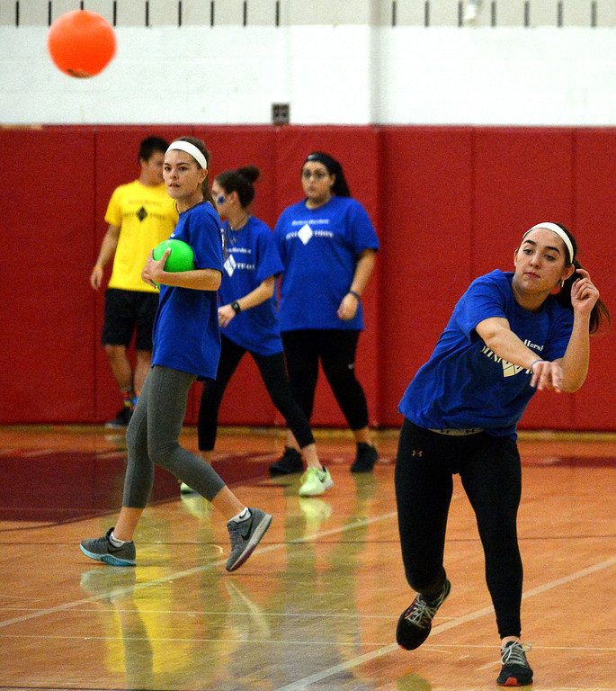 . A junior launches a ball during a game of dodge ball at the Hatboro-Horsham High School miniTHON May 13, 2017.  (Bob Raines/Digital First Media)