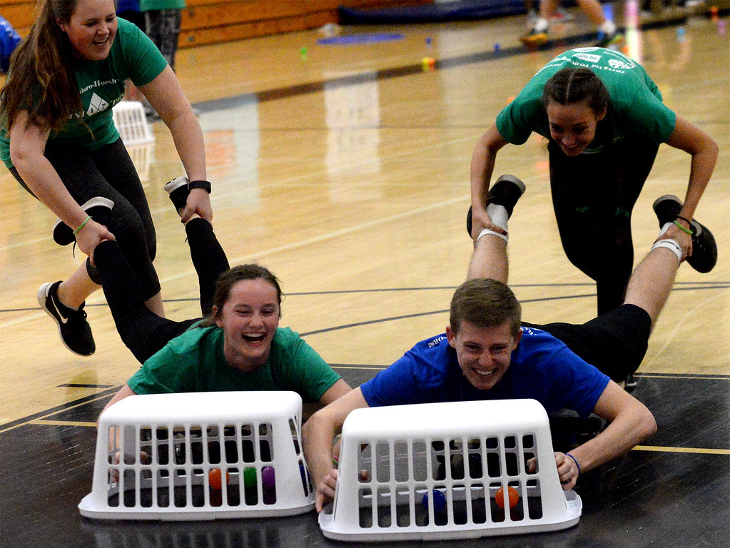 ". Teens play ""Hungry, Hungry Hippo\"" in the high school gym during the Hatbboro-Horsham miniTHON May 13, 2017.  (Bob Raines/Digital First Media)"