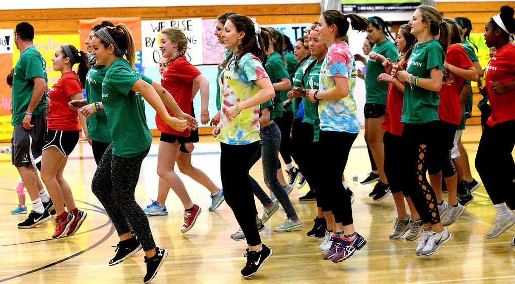 ". Students dance the ""Cha Cha Slide\"" at the Hatboro-Horsham High School miniTHON May 13, 2017.  (Bob Raines/Digital First Media)"