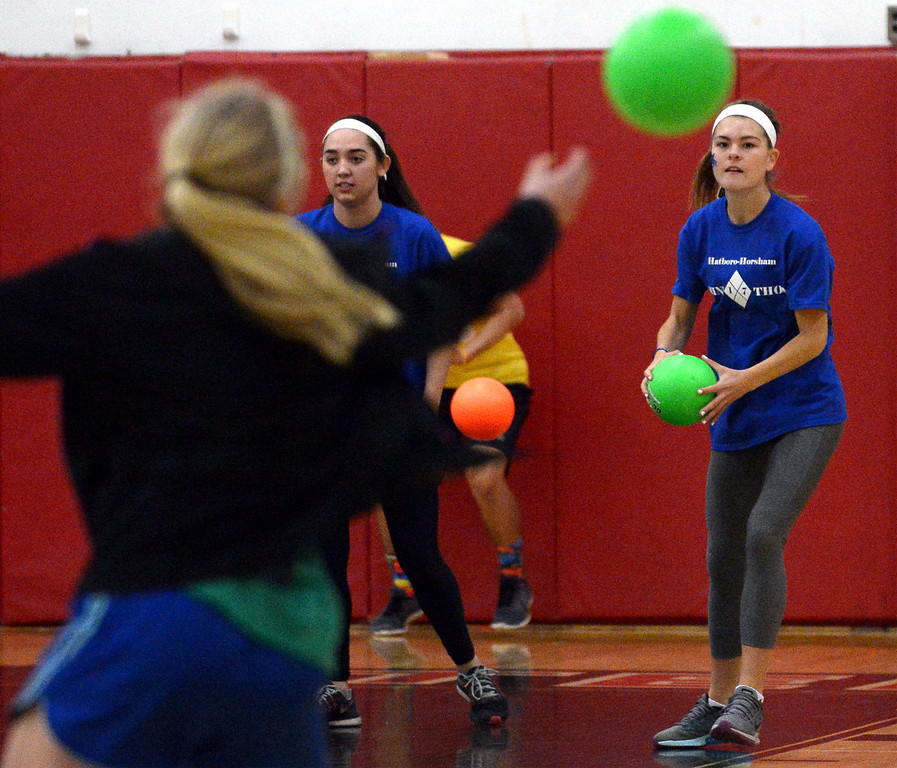 . Juniors take on the seniors in dodge ball at the Hatboro-Horsham High School miniTHON May 13, 2017.  (Bob Raines/Digital First Media)