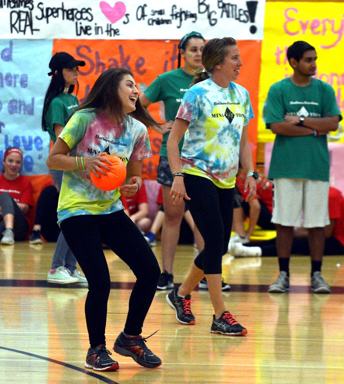 . Teens have fun playing dodge ball at the Hatboro-Horsham High School miniTHON May 13, 2017.  (Bob Raines/Digital First Media)